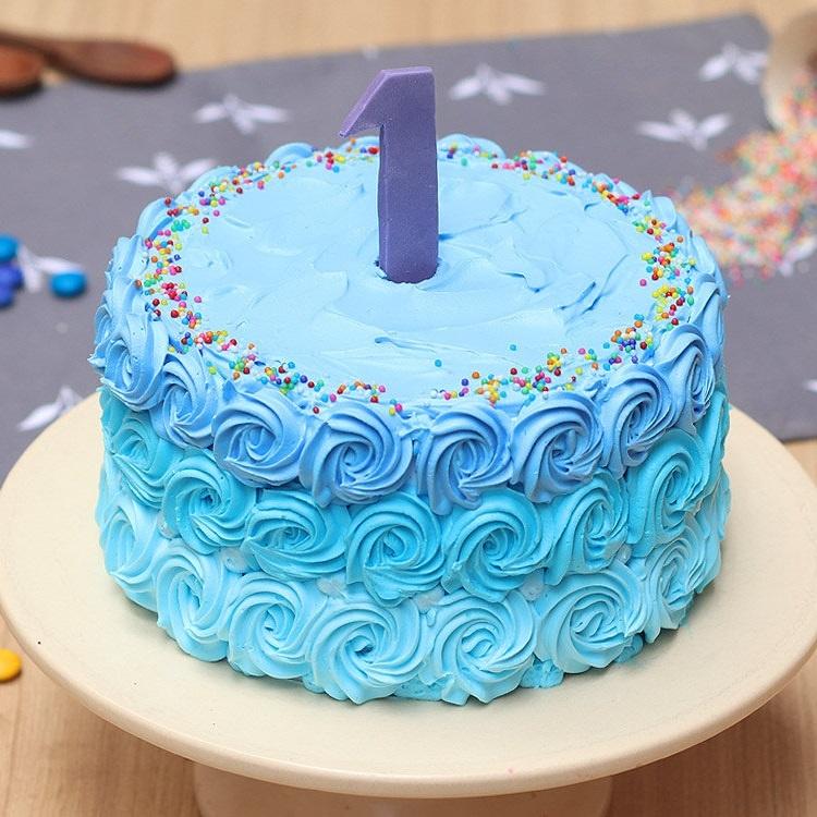 Blue Roses Baby Shower Cake